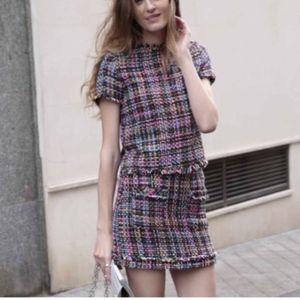 Zara tweed multicolor black skirt top set S M